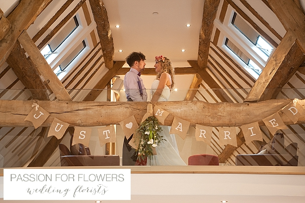 the moat house dorsington rustic just married bunting from beams