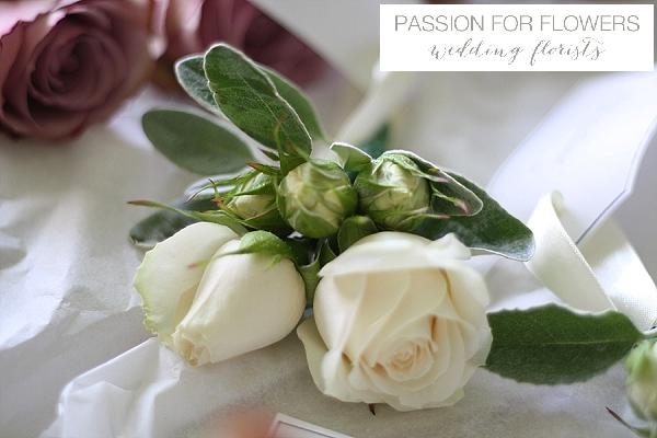 cream rose buttonholes