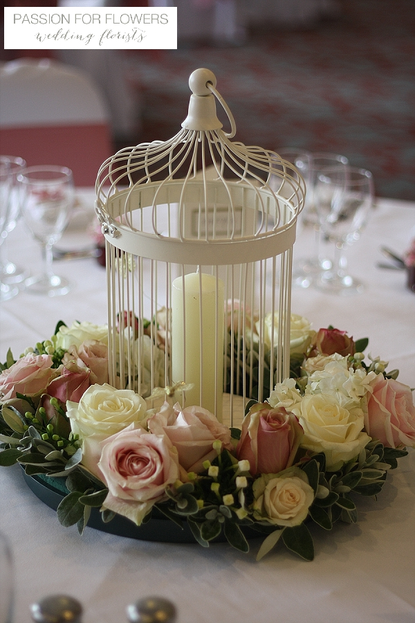 welcombe hotel wedding flowers  dusky pink roses centrepeices
