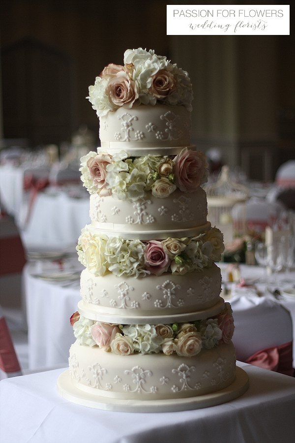 welcombe hotel wedding cake flowers dusky pink roses