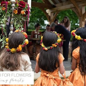 flower crowns for flower girls orange red indian wedding flowers