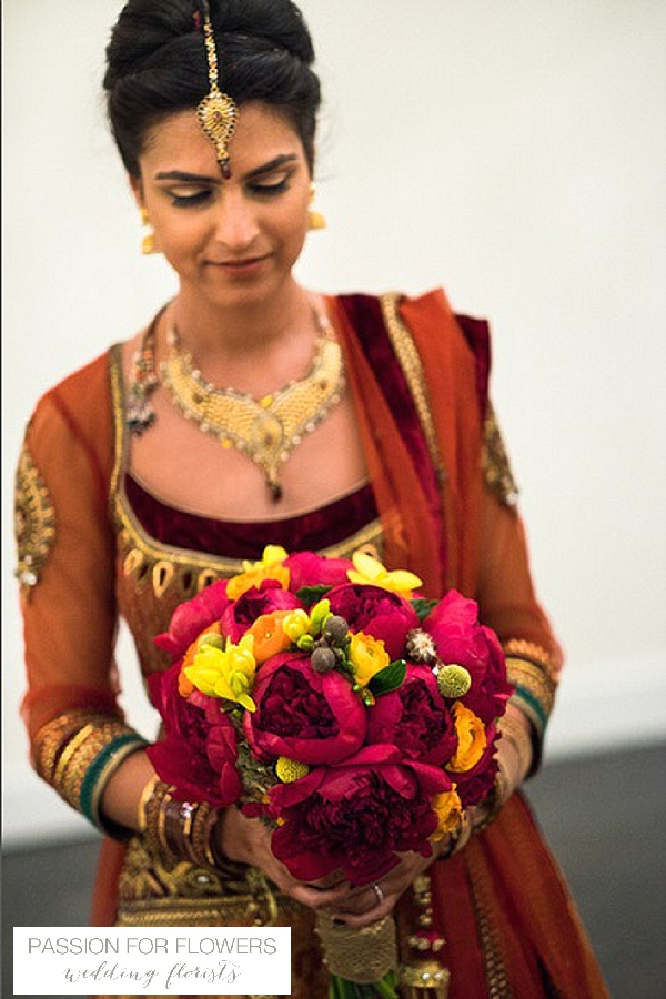 orange red wedding flowers indian bridal bouquets
