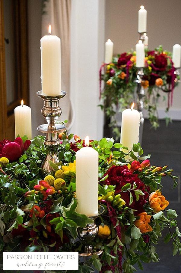 wethele manor candelabra wedding flowers