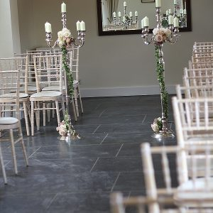 wethele manor wedding flowers candelabra