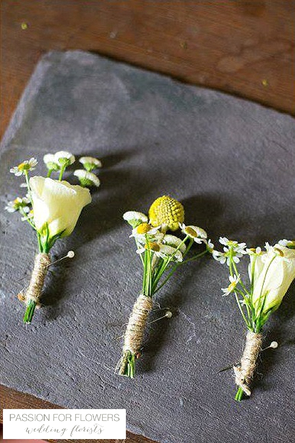 yellow buttonholes with twine wedding flowers passion for flowers