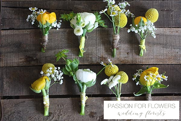yellow buttonholes wedding flowers passion for flowers