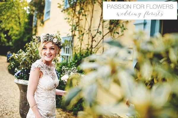 South farm wedding bride with flower crown flowers