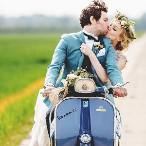 South farm wedding vespa