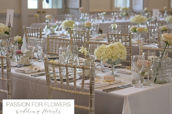 Compton Verney Wedding  Crsytal Vases White Flowers