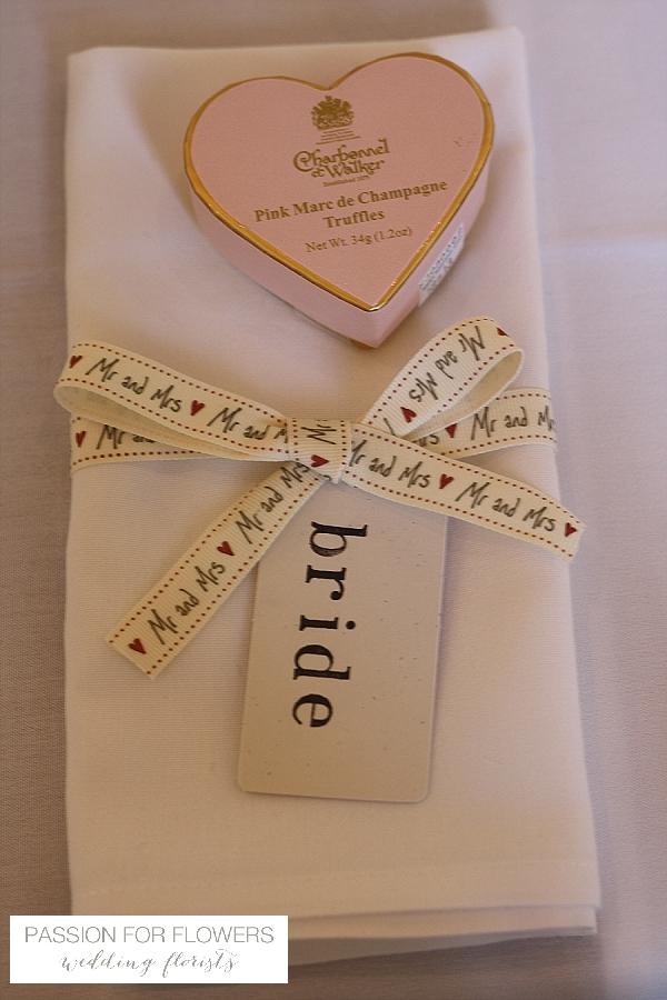 Napkin decorations mr mrs ribbon bride napkin