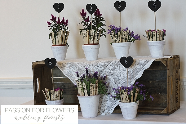 Compton Verney Wedding Table Plan Flower pots with Table numbers