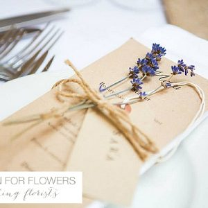Cripps Barn Wedding Flowers place settings with lavender