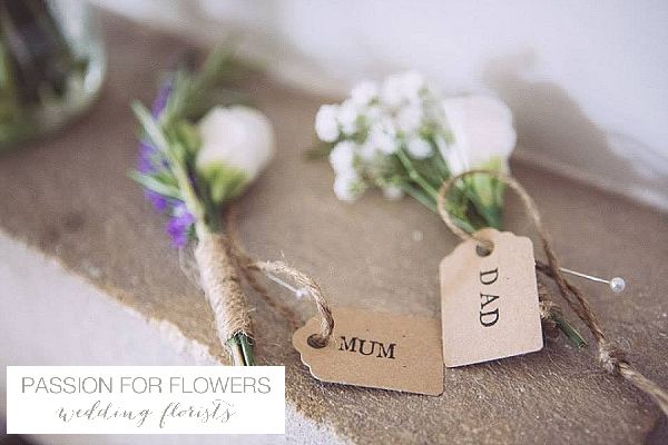 Cripps Barn Wedding Flowers Buttonholes tied with twine and luggage tags
