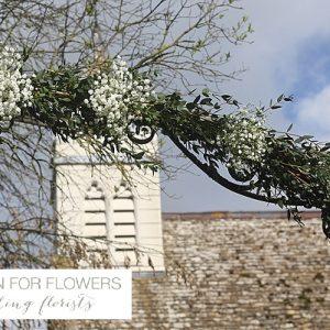 Gypsophila floral arch church flowers