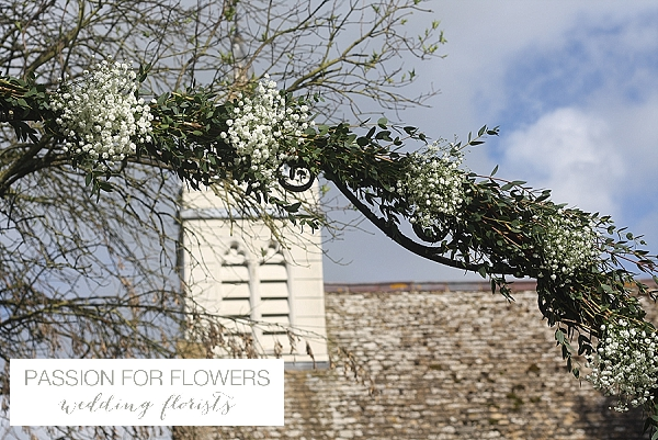 Gypsophila floral arch church flowers