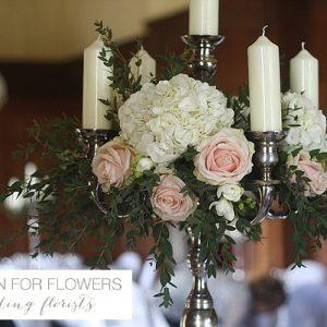 Dumbleton Hall Wedding Flowers Candelabra Centrepieces