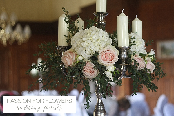 Dumbleton Hall Wedding Flowers Candelabra Centrepieces