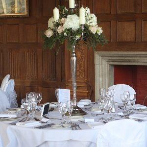Dumbleton Hall Wedding Flowers Centrepieces Candelabra