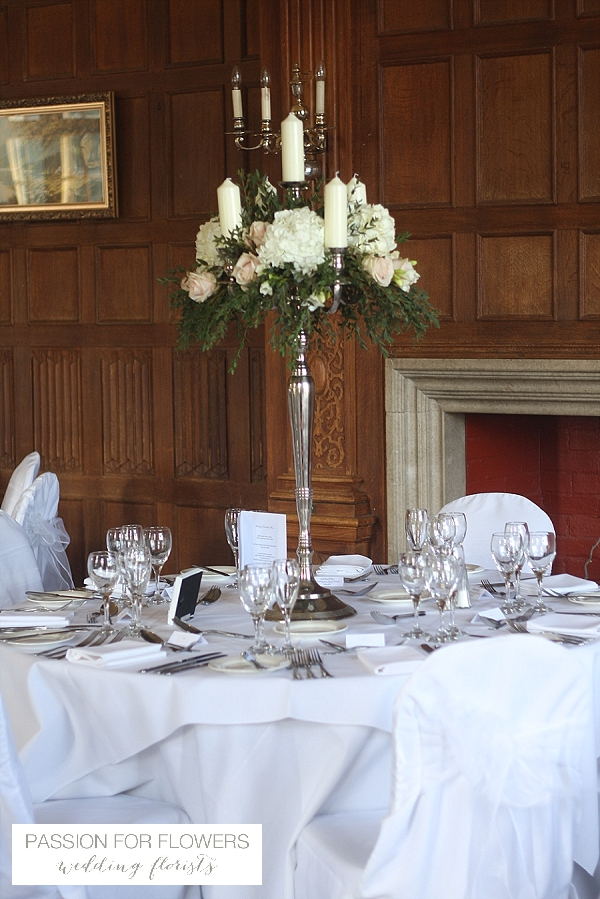Dumbleton Hall Wedding Flowers Centrepieces Candelabra