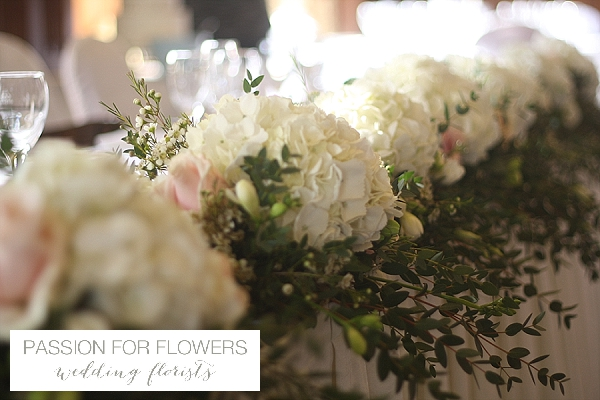 Dumbleton Hall Wedding Top Table Flowers