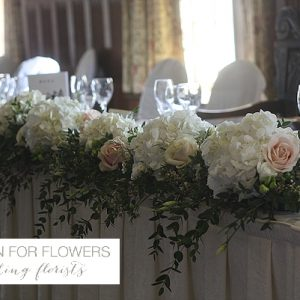 Dumbleton Hall Top Table Garland Wedding Flowers