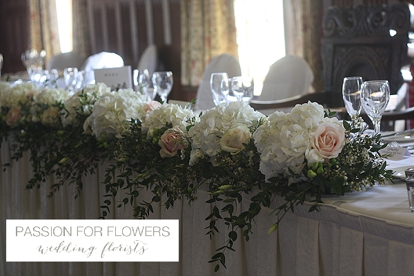 Dumbleton Hall Top Table Garland Wedding Flowers