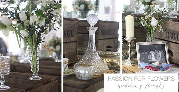 Mythe Barn Rustic Glamour Wedding Flowers