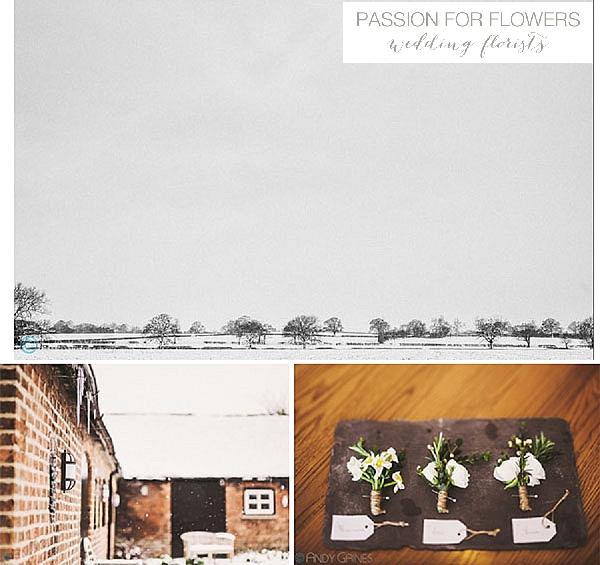 Mythe Barn Winter Wedding Flowers