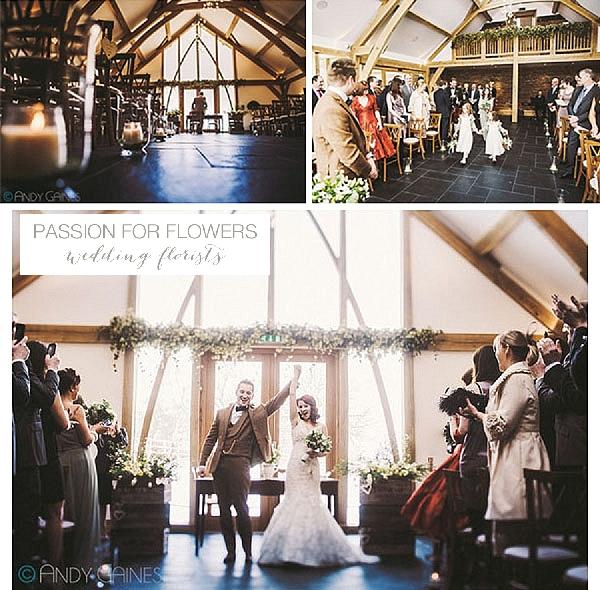 Mythe Barn Wedding Flowers Ceremony