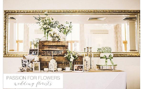 Mythe Barn Wedding Flowers Feature Table