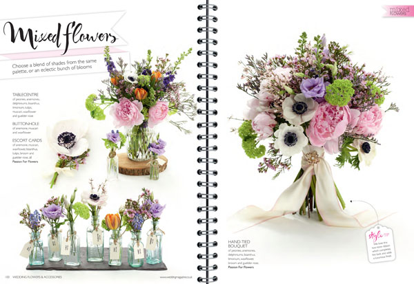 Passion for Flowers mixed flowers featured in Wedding Flowers Magazine July 2014