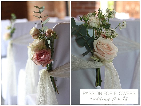 Redhouse barn wedding ceremony flowers chair backs