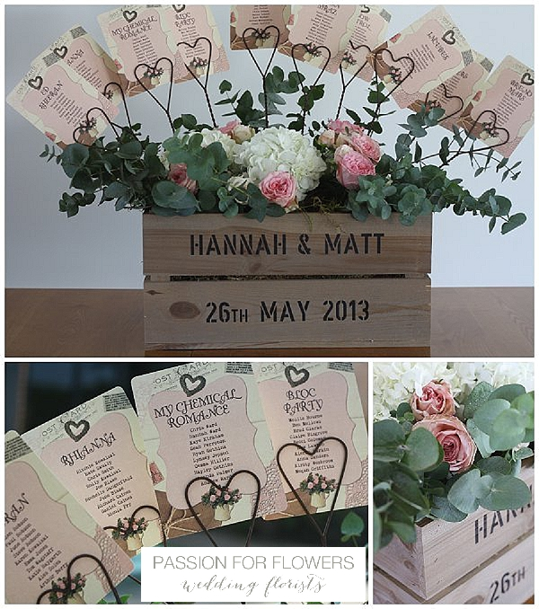 Redhouse barn wedding table plan in wooden crate flowers