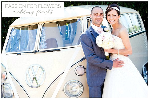 Redhouse barn wedding flowers bouquets on vw campervan