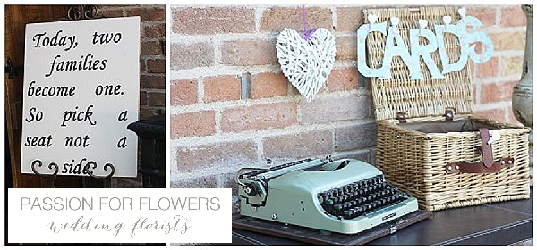 Redhouse barn wedding typewriter signs