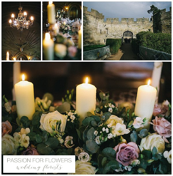 Warwick Castle Wedding Flowers  Candelabra
