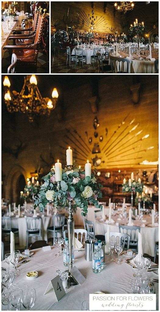 Warwick Castle Wedding Centrepiece Candelabra Flowers
