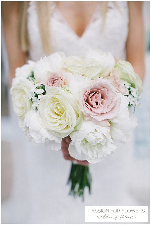 white nude roses wedding bouquets
