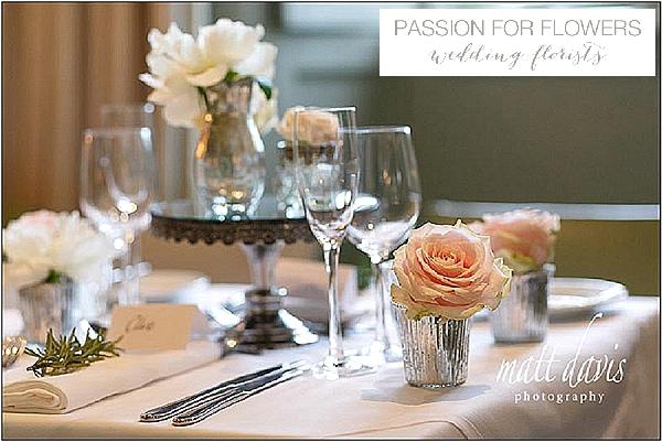 barnsley house white wedding flowers mercury silver vases