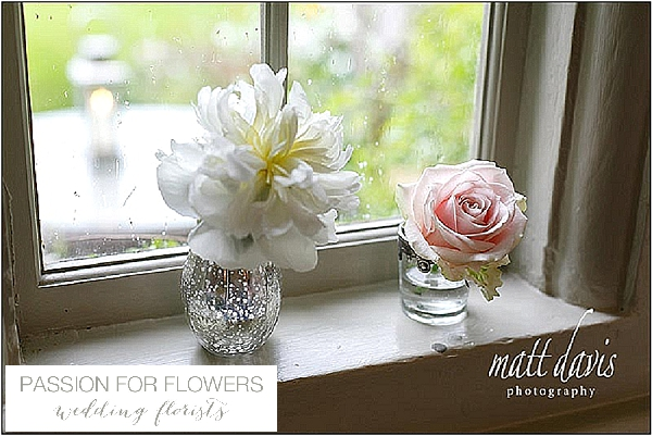barnsley house window sill wedding flowers in mercury silver vases