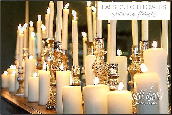 barnsley house wedding flowers mercury silver candle sticks fireplace