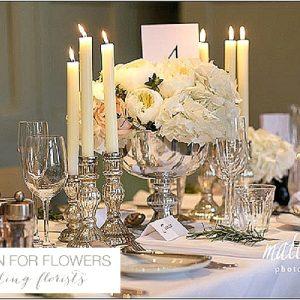 mercury silver candle sticks wedding barnsley house wedding flowers