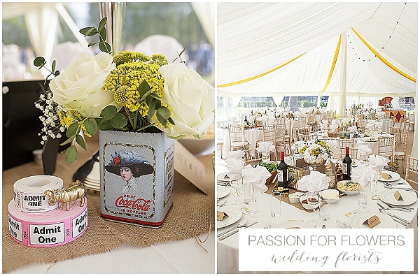 circus themed wedding white & yellow wedding flowers centrepieces