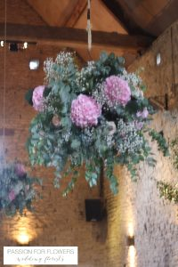 cripps barn wedding flowers hanging flowers