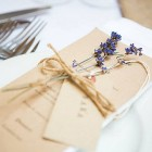 cripps barn wedding flowers place setting with lavender on menu