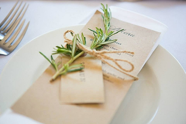 cripps barn wedding flowers rosemary herb on pace setting menu tied with twine