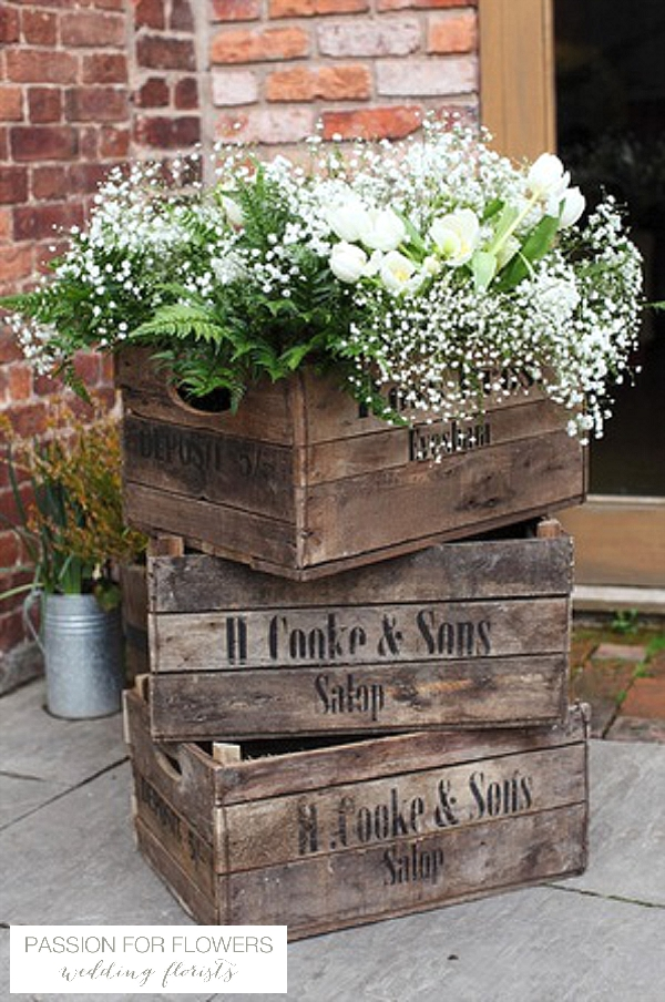 curradine barns wedding flowers in rustic crates