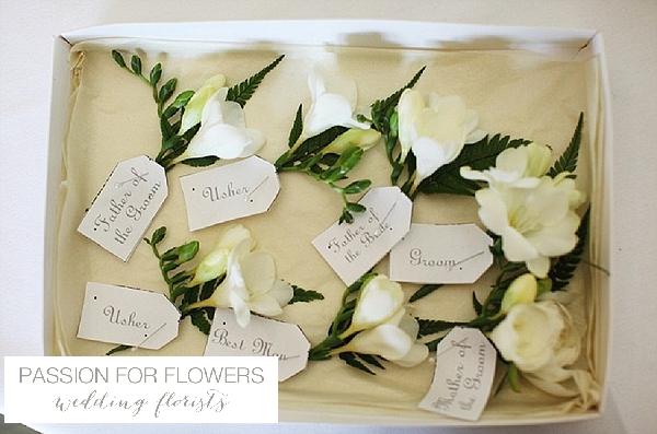 white freesia buttonholes