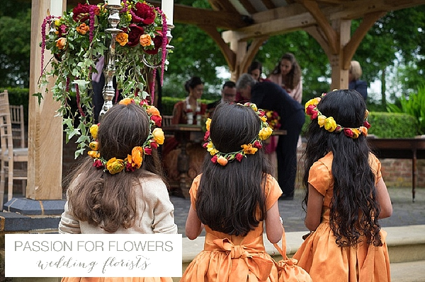 flowergirl flower crowns indian wedding yellow red pink