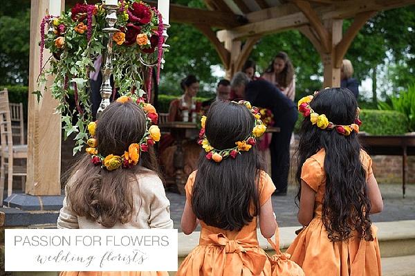 flowergirl flower crowns indian wedding yellow red pink